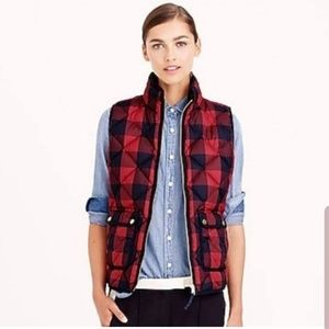 J. Crew Buffalo Plaid Down Puffer Vest XL